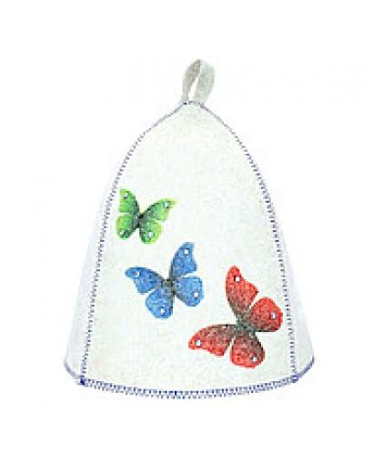 """Шапка банная """"Бабочки. Стразы"""", войлок бел."""