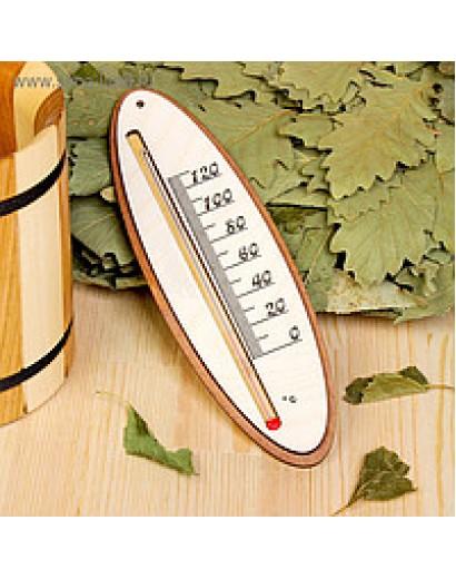 Термометр д/бани жидкостный, фанера (прямоугольник, овал)
