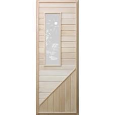 Дверь для бани со стеклом прямоугольным