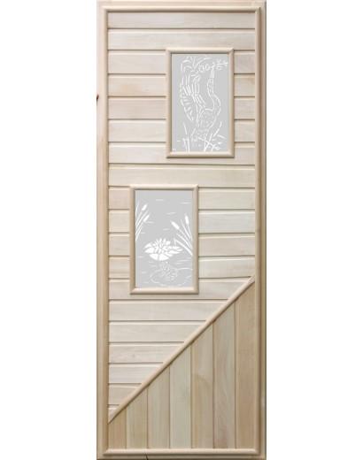 Дверь для бани с 2-мя стеклами