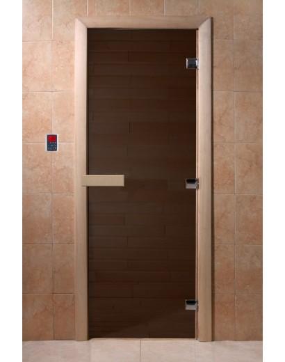 """Дверь банная Doorwood 700x1800 """"Теплая ночь"""" (бронза матовая)"""
