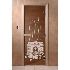 """Дверь банная Doorwood 700х1900 с рисунком """"Банька"""" (бронза)"""
