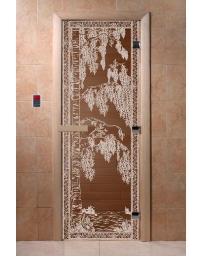 """Дверь банная Doorwood 700х1900 с рисунком """"Березка"""" (бронза)"""