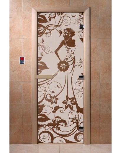 """Дверь банная Doorwood 700х1900 с рисунком """"Девушка в цветах"""""""