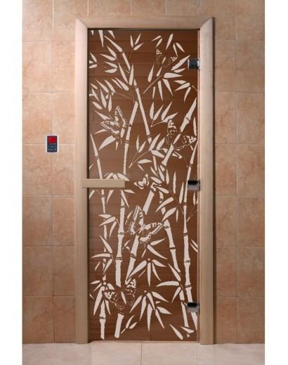 """Дверь банная """"Бамбук и бабочки"""" бронза"""