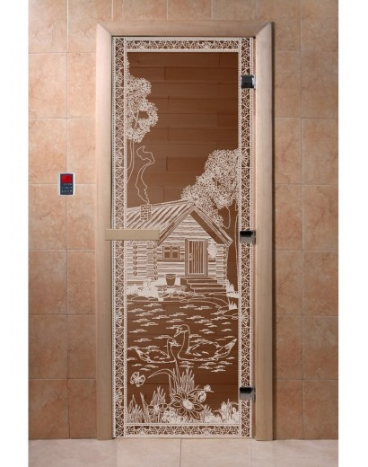 """Дверь банная """"Банька в лесу"""" бронза"""