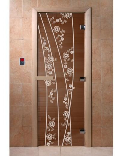 """Дверь банная """"Весна цветы"""" бронза"""