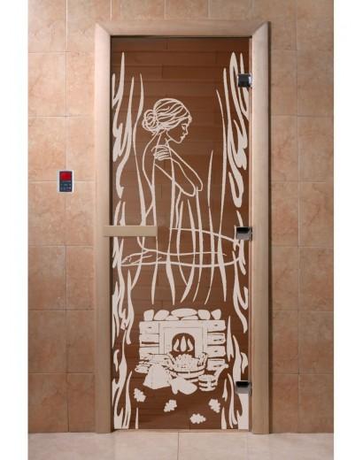 """Дверь банная """"Волшебный пар"""" бронза"""
