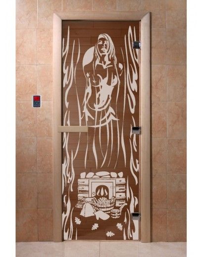 """Дверь банная """"Горячий пар"""" бронза"""